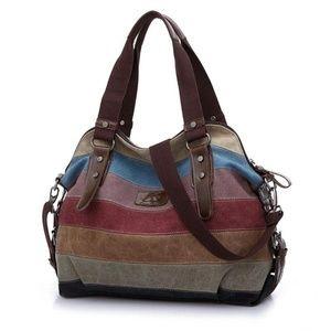 Handbags - Stripe Rainbow Crossbody Canvas Handbag